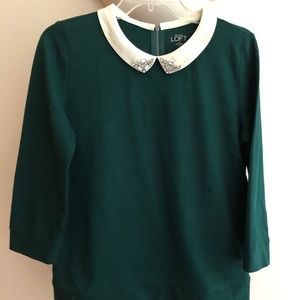 LOFT 3/4 sleeve top with jeweled collar